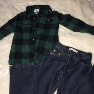 Boys Brand New Levi's W/ Flannel Button Up
